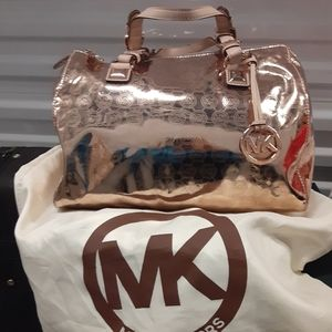 Michael Kors rose gold metallic bag